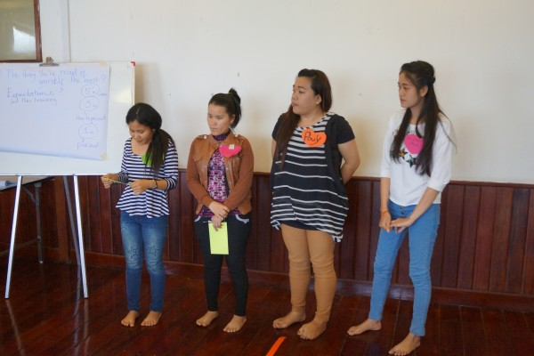Participants engage in a role playing to exercise to demonstrate common issues pertaining to womens rights